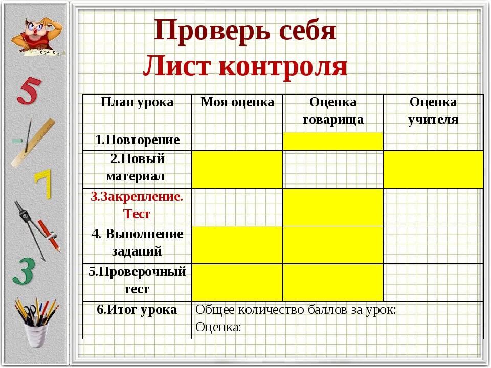 Проверь себя Лист контроля План урокаМоя оценкаОценка товарищаОценка учите...