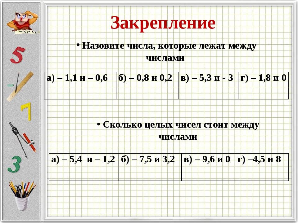 Закрепление Назовите числа, которые лежат между числами Сколько целых чисел с...