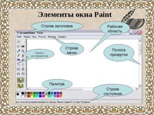 Элементы окна Paint Строка заголовка Строка меню Панель инструментов Палитра