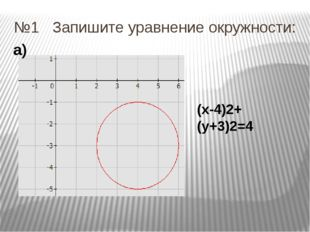 №1 Запишите уравнение окружности: (х-4)2+(у+3)2=4 а)
