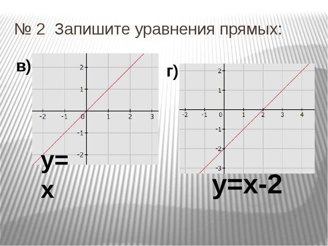 № 2 Запишите уравнения прямых: в) г) у=х у=х-2