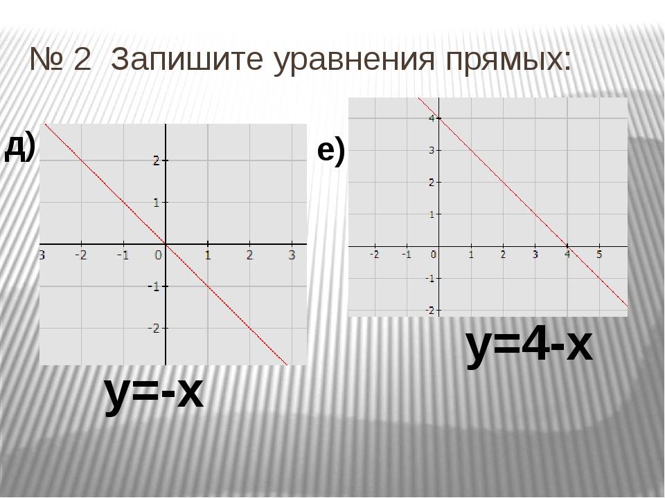 № 2 Запишите уравнения прямых: д) е) у=-х у=4-х