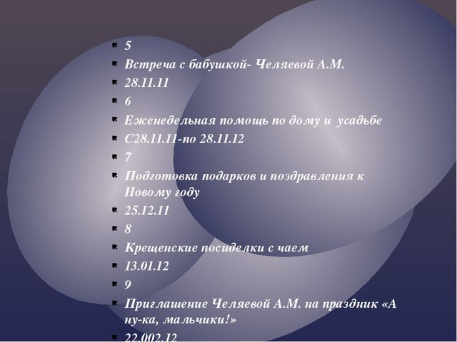 5 Встреча с бабушкой- Челяевой А.М. 28.11.11 6 Еженедельная помощь по дому и...