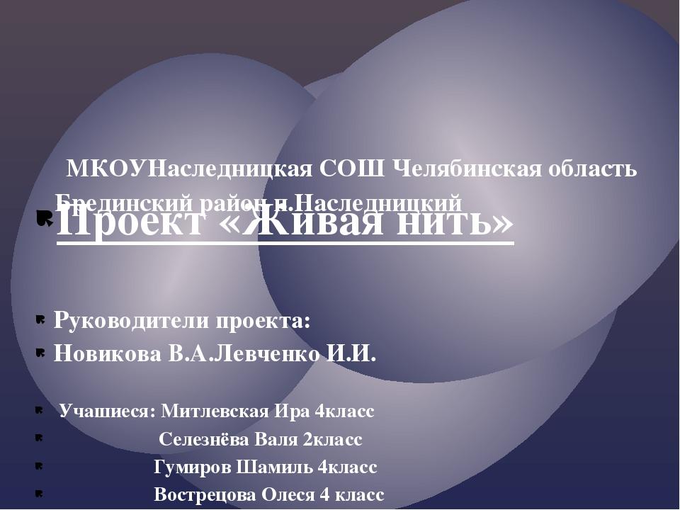Проект «Живая нить» Руководители проекта: Новикова В.А.Левченко И.И. Учашиеся...