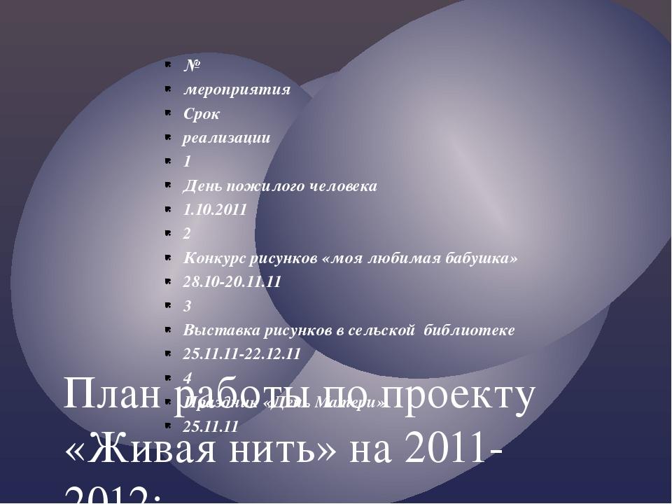 № мероприятия Срок реализации 1 День пожилого человека 1.10.2011 2 Конкурс ри...