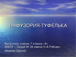 ИНФУЗОРИЯ-ТУФЕЛЬКА Выполнил: ученик 7 класса «б» МАОУ « Лицей № 28 имени Н.А.