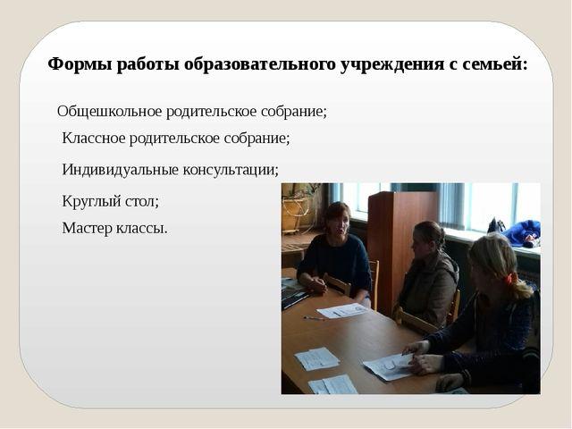 Формы работы образовательного учреждения с семьей: Общешкольное родительское...