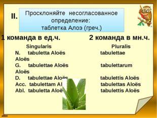 Просклоняйте несогласованное определение: таблетка Алоэ (греч.) Singularis Pl