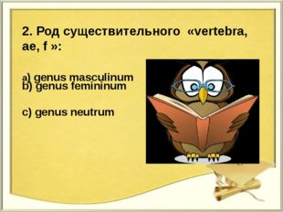 2. Род существительного «vertebra, ae, f »: a) genus masculinum b) genus femi