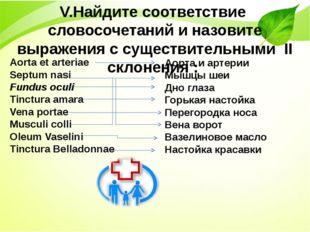 V.Найдите соответствие словосочетаний и назовите выражения с существительными