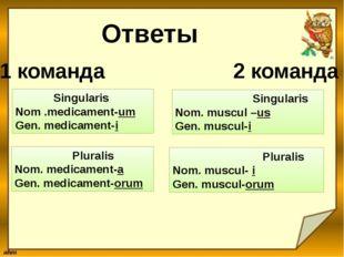 Ответы 1 команда 2 команда Singularis Nom .medicament-um Gen. medicament-i Pl