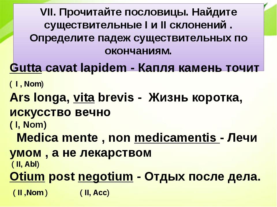 VII. Прочитайте пословицы. Найдите существительные I и II склонений . Определ...