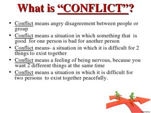 """What is """"CONFLICT""""? Conflict means angry disagreement between people or group"""