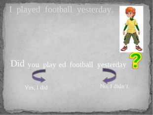 I played football yesterday. you play football yesterday Did ed Yes, I did No
