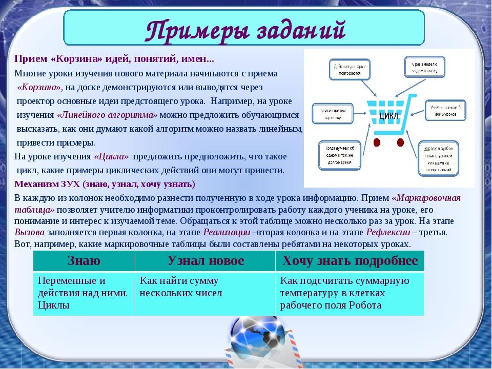 Прием «Корзина» идей, понятий, имен... Многие уроки изучения нового материала...