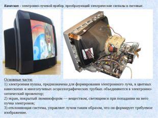 Кинескоп- электронно-лучевой прибор, преобразующий электрические сигналы в с