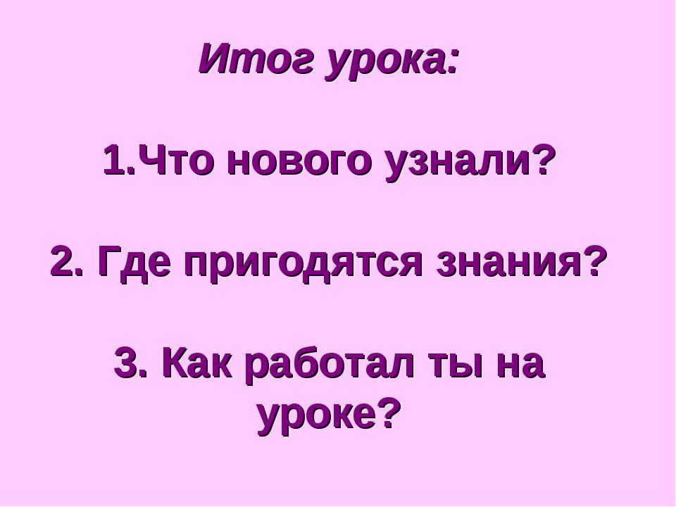 Итог урока: Что нового узнали? 2. Где пригодятся знания? 3. Как работал ты на...