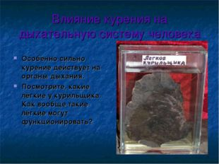Влияние курения на дыхательную систему человека Особенно сильно курение дейст