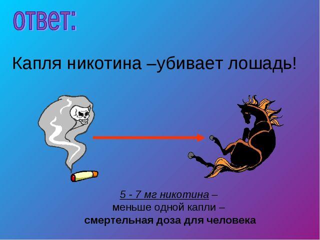 5 - 7 мг никотина – меньше одной капли – смертельная доза для человека Капля...