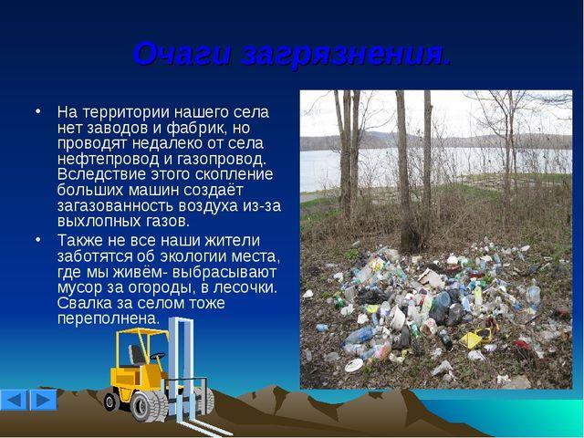 Очаги загрязнения. На территории нашего села нет заводов и фабрик, но проводя...