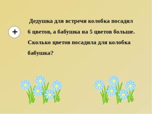 Дедушка для встречи колобка посадил 6 цветов, а бабушка на 5 цветов больше.