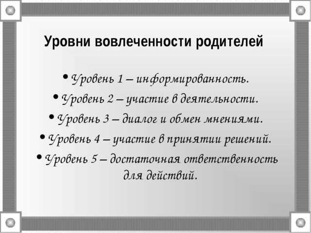 Уровни вовлеченности родителей Уровень 1 – информированность. Уровень 2 – уча...