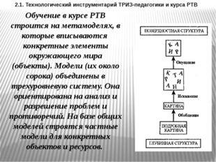 2.1. Технологический инструментарий ТРИЗ-педагогики и курса РТВ Обучение в ку
