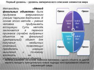 Первый уровень – уровень эмпирического описания элементов мира Метамодель «Ме