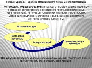 Первый уровень – уровень эмпирического описания элементов мира Метамодель «Мо