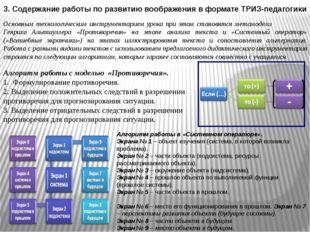 3. Содержание работы по развитию воображения в формате ТРИЗ-педагогики Основн