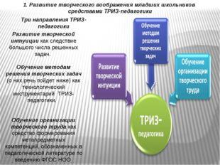 Три направления ТРИЗ-педагогики Развитие творческой интуиции как следствие бо