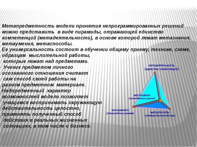 Метапредметность модели принятия непрограммированных решений можно представит...
