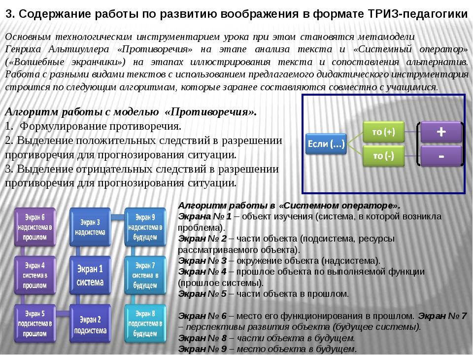 3. Содержание работы по развитию воображения в формате ТРИЗ-педагогики Основн...