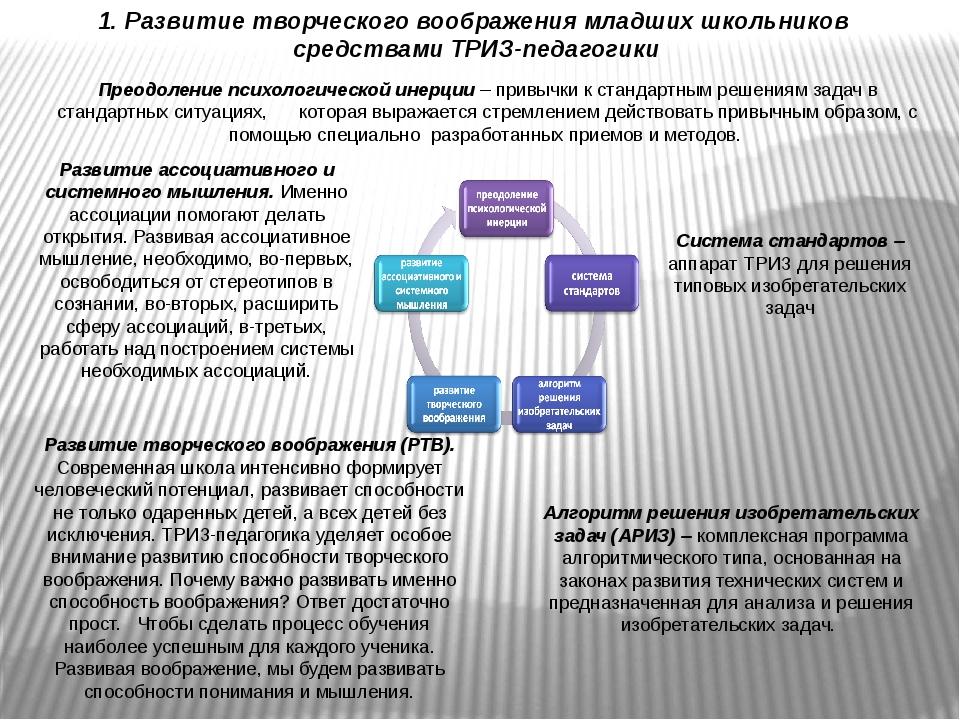 1. Развитие творческого воображения младших школьников средствами ТРИЗ-педаго...