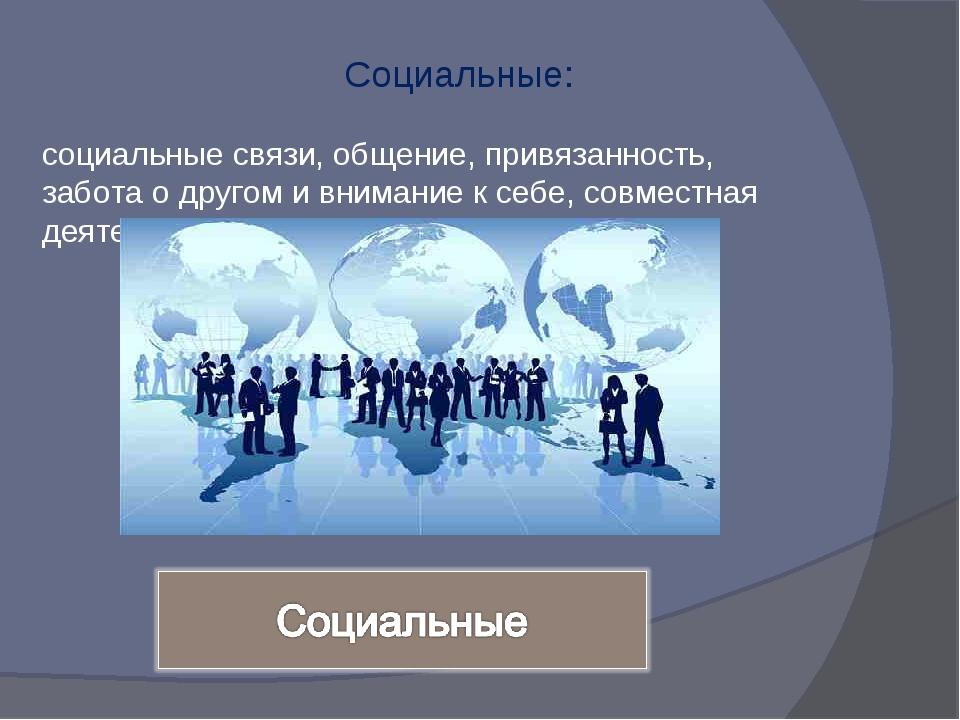 Социальные: социальные связи, общение, привязанность, забота о другом и вним...