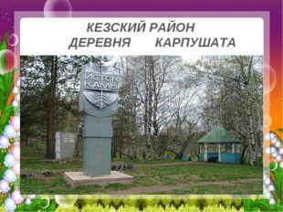 КЕЗСКИЙ РАЙОН ДЕРЕВНЯ КАРПУШАТА