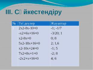 ІІІ. Сәйкестендіру № Теңдеулер Жауаптар 1 2х2-8х-10=0 -х2+6х+16=0 х2-8х=0 5х2