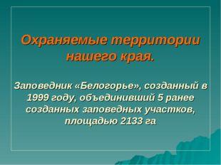 Охраняемые территории нашего края. Заповедник «Белогорье», созданный в 1999 г