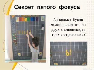 Секрет пятого фокуса А сколько буков можно сложить из двух « клюшек», и трех