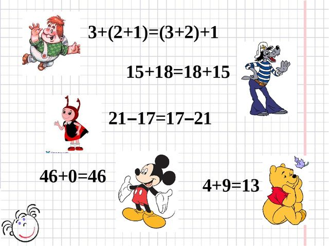 3+(2+1)=(3+2)+1 15+18=18+15 21–17=17–21 4+9=13 46+0=46