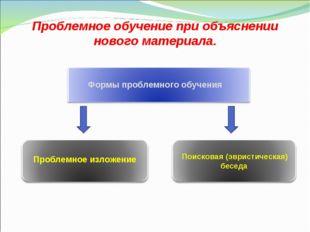 Проблемное обучение при объяснении нового материала. Формы проблемного обучен
