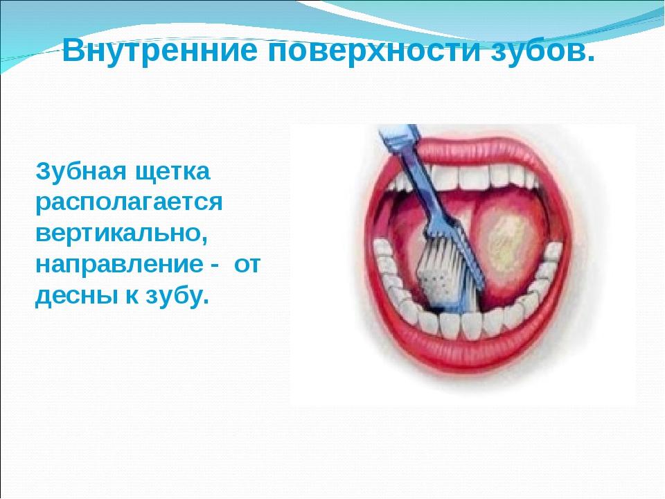 Внутренние поверхности зубов. Зубная щетка располагается вертикально, направл...