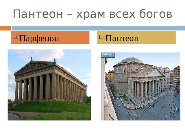 Пантеон – храм всех богов Парфенон Пантеон