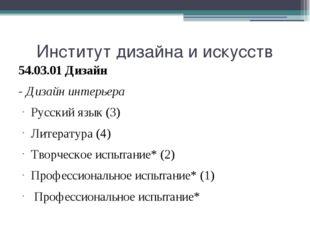 Институт дизайна и искусств 54.03.01 Дизайн - Дизайн интерьера Русский язык (