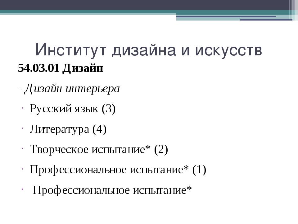 Институт дизайна и искусств 54.03.01 Дизайн - Дизайн интерьера Русский язык (...