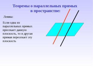 Теоремы о параллельных прямых в пространстве: Лемма: Если одна из параллельны