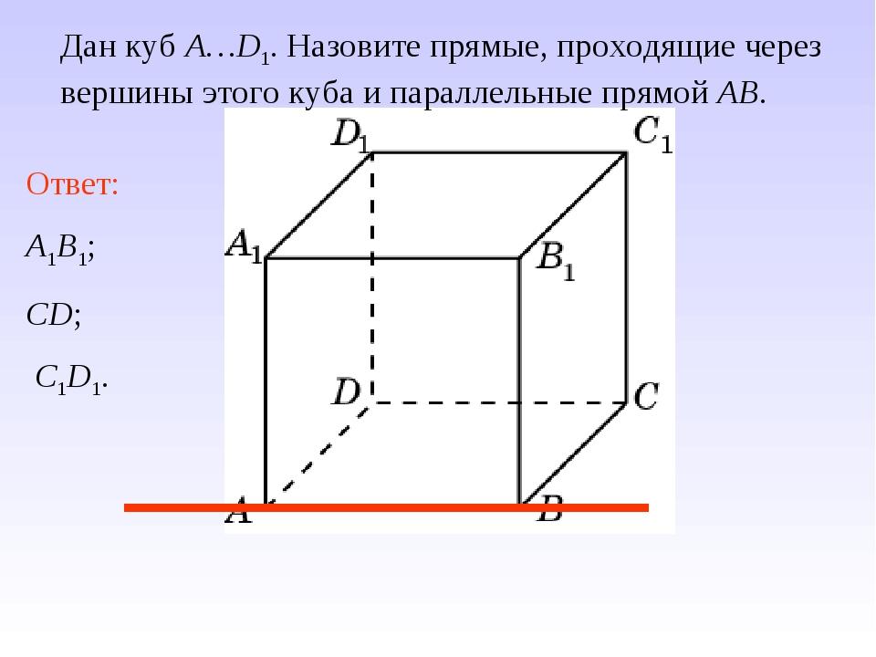 Ответ: A1B1; CD; C1D1. Дан куб A…D1. Назовите прямые, проходящие через вершин...