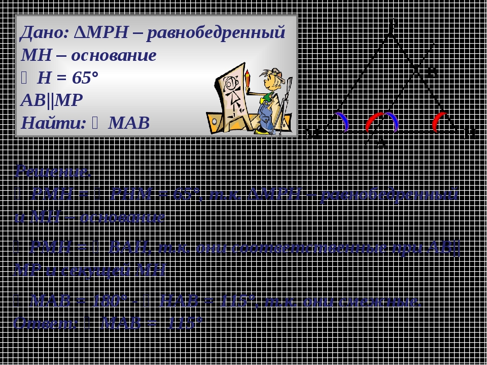 Дано: ∆МРН – равнобедренный МН – основание ∠Н = 65° АВ||МР Найти: ∠МАВ Решени...
