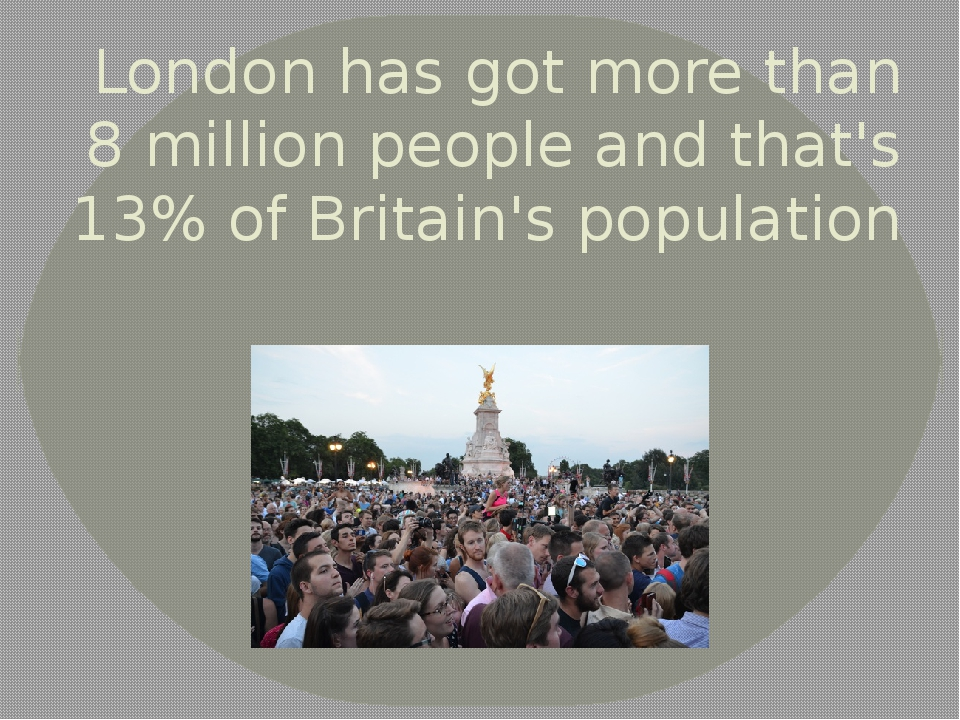 London has got more than 8 million people and that's 13% of Britain's populat...