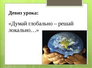 Девиз урока: «Думай глобально – решай локально…»